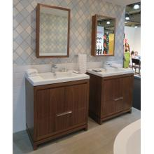 "Free-standing under-counter vanity with finger pulls across top doors and polished chrome pulls across bottom drawers, 39"" W, 17 5/8"" D, 33 1/4"" H"