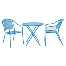 "3 Piece Set 1 -30"" Round Folding Metal Table and 2 Metal Chairs In Blue Finish"