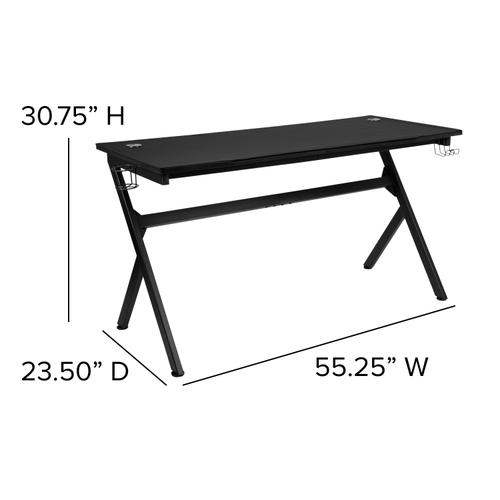 Gallery - Gaming Desk with Cup Holder\/Headphone Hook\/Removable Mousepad Top & Black Reclining Back\/Arms Gaming Chair with Footrest