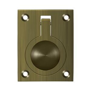 "Deltana - Flush Ring Pull, 2-1/2"" x 1-7/8"" - Antique Brass"