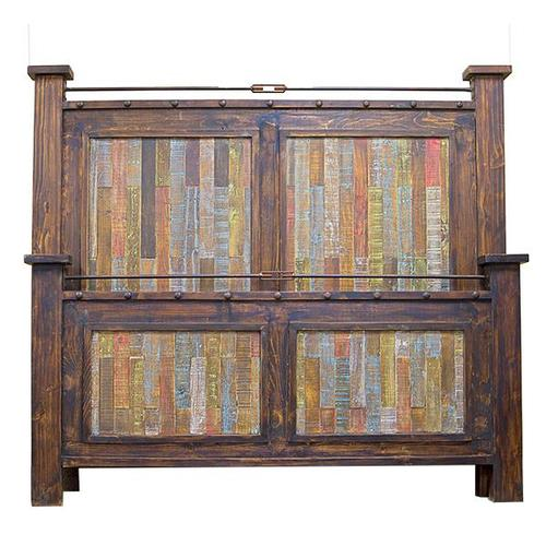 L.M.T. Rustic and Western Imports - King Las Piedras Bed W/Painted Pallet Wood