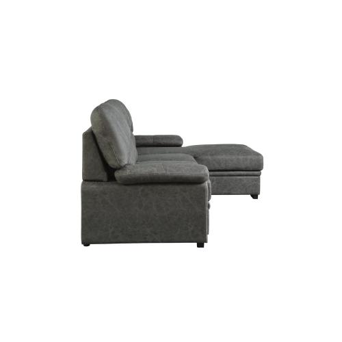 2-Piece Sectional with Pull-out Bed and Right Chaise with Hidden Storage