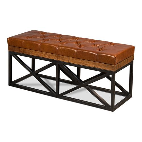 Leather Cushion Double Bench