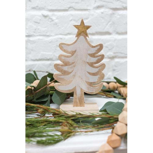 """Accent Decor - Feathered Tree (Size:1.75"""" X 6.25"""", Color:White)"""