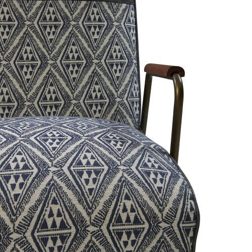 Kahlo KD Fabric Accent Arm Chair, Azure Diamond/ Vintage Midnight