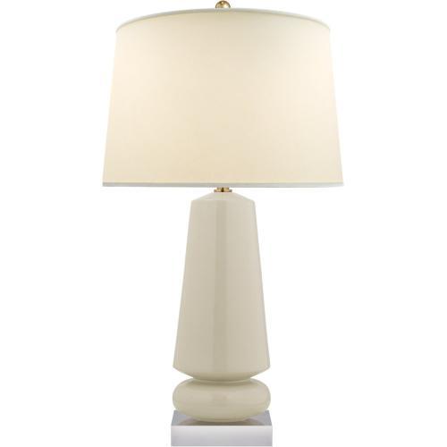 Visual Comfort CHA8670ICO-PL E. F. Chapman Parisienne 35 inch 150 watt Coconut Porcelain Table Lamp Portable Light, E.F. Chapman, Medium, Natural Percale Shade
