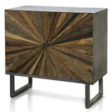 KAYDEN CABINET  32in w. X 31in ht. X 15in d.  Solid Reclained Wood Cut and Joined to Resemble Rays