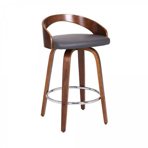 """Sonia 26"""" Counter Height Barstool in Walnut Wood Finish with Gray Faux Leather"""