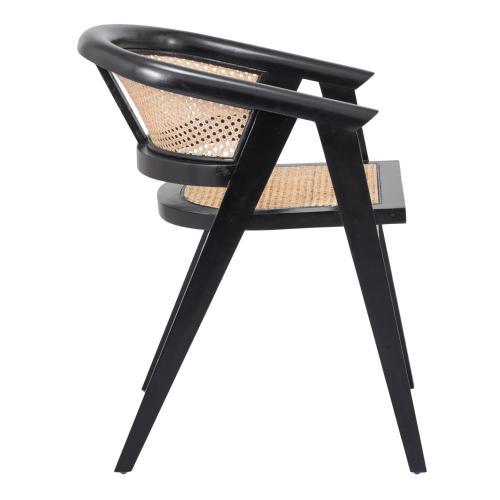Seine Rattan Dining Arm Chair, Black/ Natural