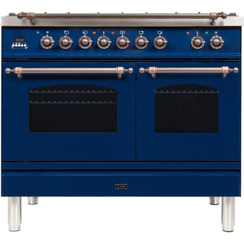 Nostalgie 40 Inch Dual Fuel Natural Gas Freestanding Range in Blue with Bronze Trim