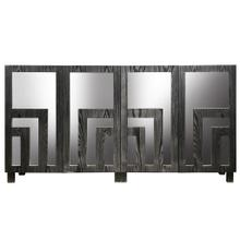 Product Image - MAYBERRY SIDEBOARD  Distressed Dark Gray Finish on Hardwood with Beveled Mirror  4 Door