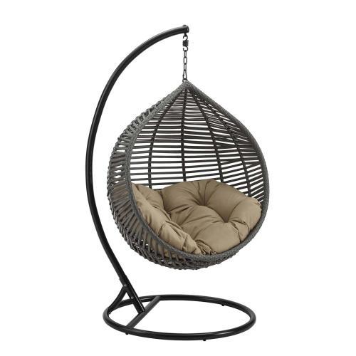 Garner Teardrop Outdoor Patio Swing Chair in Gray Mocha