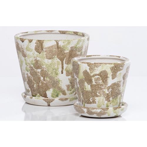 Alfresco Home - Camo Carved Petit Pots w/attchd saucer set of 2min 4 sets camo earth