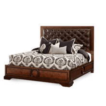 California King Panel Bed w/Leather Tufted Headboard