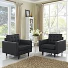 Empress Armchair Leather Set of 2 in Black Product Image