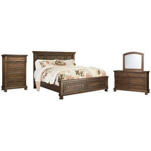California King Panel Bed With 2 Storage Drawers With Mirrored Dresser and Chest