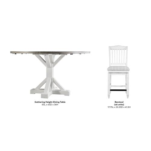 Emerald Home Centerville 7pc Set Gathering Table-6 24'' Barstools - Wood Top - Ant. White Leg D727-13-24s-09-7pc-k