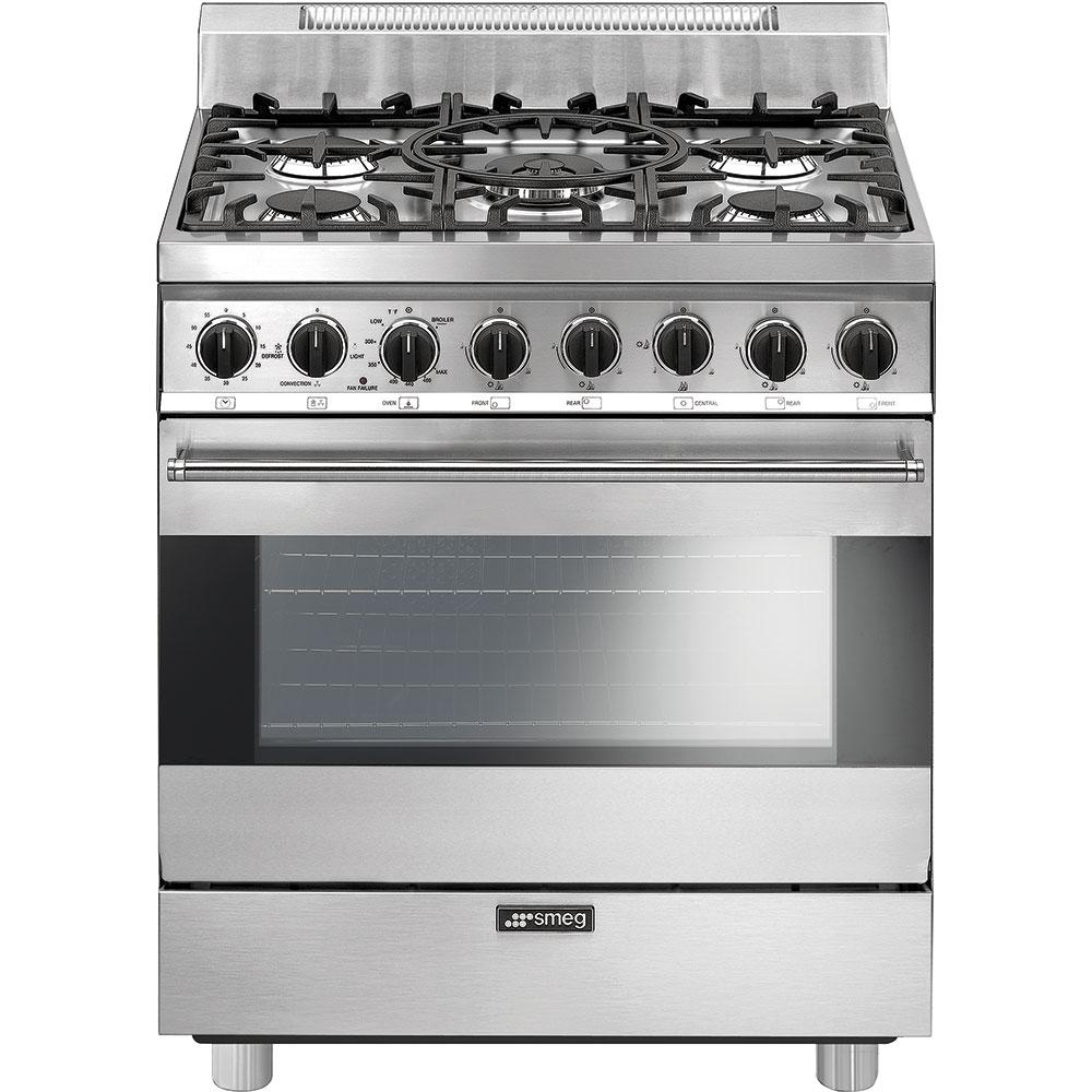 """SmegFree-Standing Gas Range, 30"""", Stainless Steel"""
