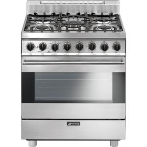 "SmegFree-Standing Gas Range, 30"", Stainless Steel"