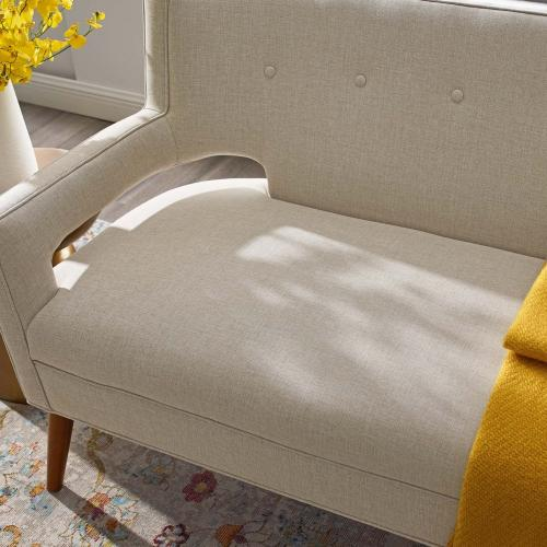 Sheer Upholstered Fabric Loveseat in Sand
