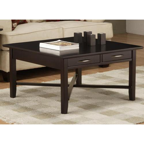 - Demilune Square Coffee Table with 2 Drawers and Shelf
