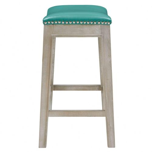 Elmo Bonded Leather Counter Stool Mystique Gray Frame, Turquoise