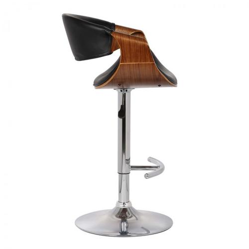 Armen Living Butterfly Adjustable Swivel Barstool in Black Faux Leather with Chrome Finish and Walnut Wood