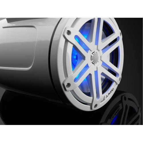 JL Audio - 7.7-inch (196 mm) Enclosed Tower Coaxial System, Gloss White Enclosure, Gloss White Sport Grille with RGB LED Lighting