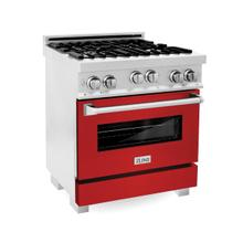 ZLINE 30 in. Professional 4.0 cu. ft. 4 Gas on Gas Range in DuraSnow® Stainless Steel with Red Matte Door (RGS-RM-30)