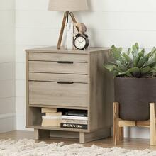 Nightstand with Drawers and Cord Catcher - Rustic Oak