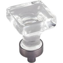 """1"""" Overall Length Glass Square Cabinet Knob."""