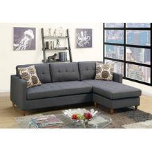 Faizel 2pc Sectional Sofa Set, Charcoal-glossy