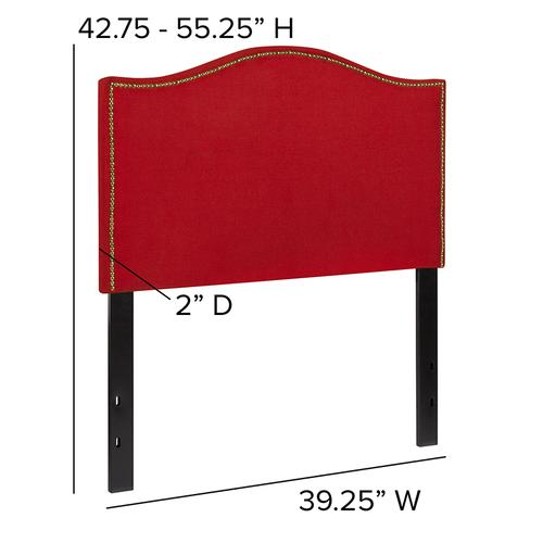 Lexington Upholstered Twin Size Headboard with Accent Nail Trim in Red Fabric