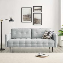 Cameron Tufted Fabric Sofa in Light Gray
