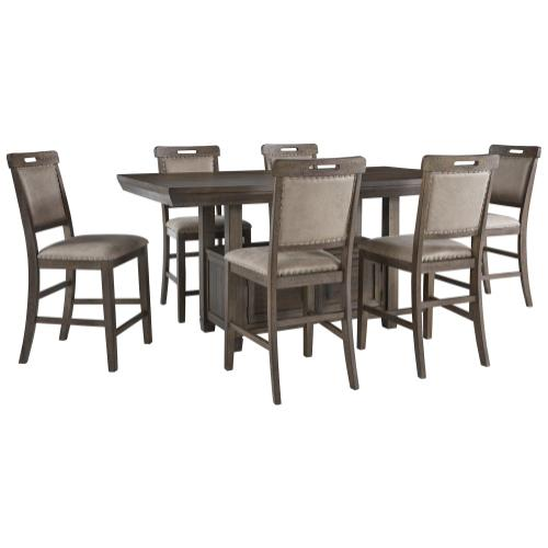 Ashley - Counter Height Dining Table and 6 Barstools