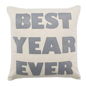Best Year Ever Pillow - Beige/silver
