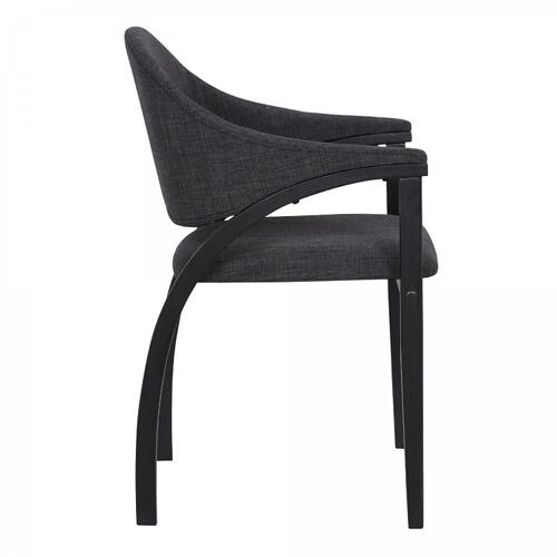 Meadow Contemporary Dining Chair in Black Brush Wood Finish and Charcoal Fabric - Set of 2
