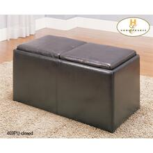 See Details - Rectangular Storage Ottoman with 2 Stools and 2 Trays, Brown polished Microfibre