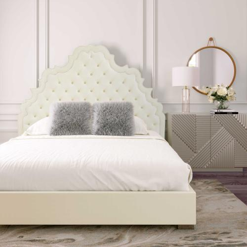 Carolina Cream Velvet Bed in Queen by Inspire Me! Home Decor