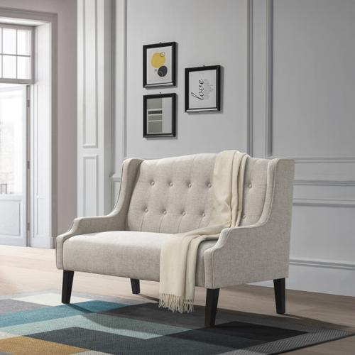Shaped Arm Button Back Settee - Linen