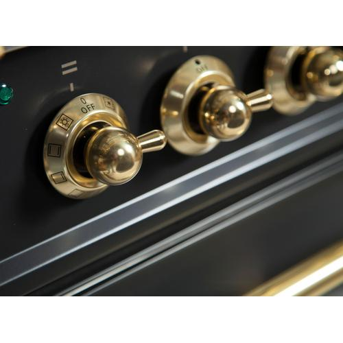 Nostalgie 40 Inch Dual Fuel Natural Gas Freestanding Range in Matte Graphite with Brass Trim