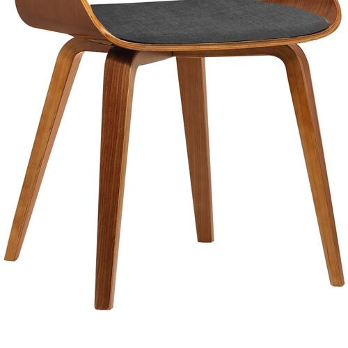 Armen Living Ivy Mid-Century Dining Chair in Charcoal Fabric with Walnut Wood