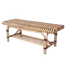 Baza Rattan Bench w/ Shelf, Natural/ Black
