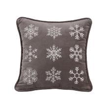 See Details - Whistler Gray Velvet Snowflake Throw Pillow, 18x18