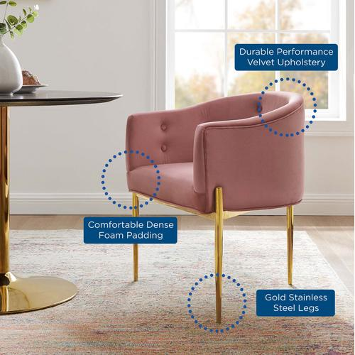 Modway - Savour Tufted Performance Velvet Accent Chairs - Set of 2 in Dusty Rose