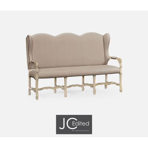 Three-seater bench in Limed Acacia, upholstered in MAZO