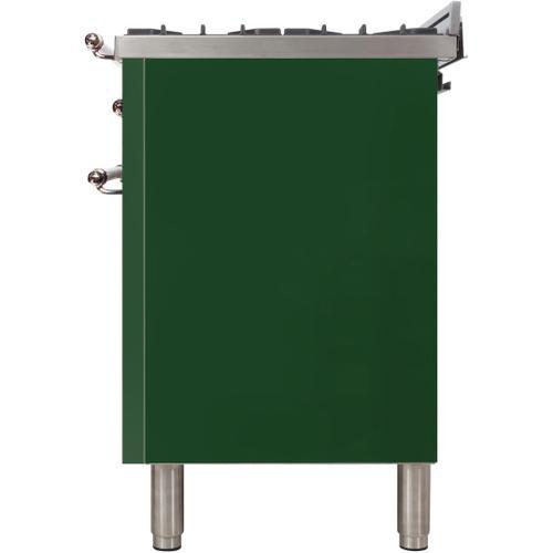 Nostalgie 24 Inch Dual Fuel Liquid Propane Freestanding Range in Emerald Green with Chrome Trim