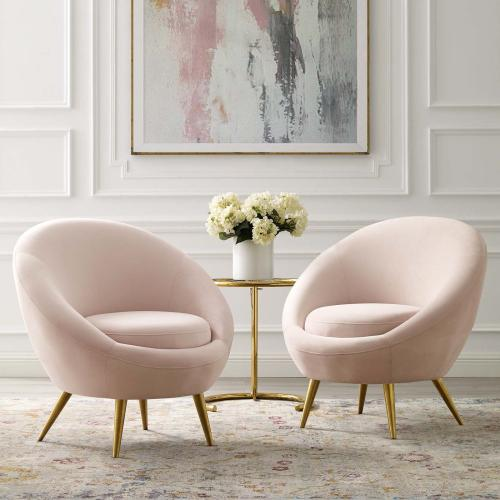 Circuit Accent Chair Performance Velvet Set of 2 in Pink