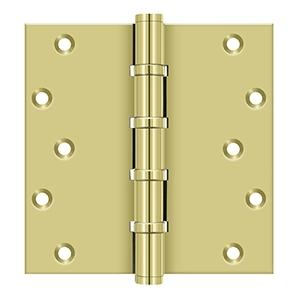 """Deltana - 6"""" x 6"""" Square Hinges, Ball Bearings - Polished Brass"""