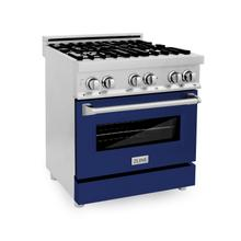 """See Details - ZLINE 30"""" 4.0 cu. ft. Dual Fuel Range with Gas Stove and Electric Oven in Stainless Steel with Color Door Options (RA30) [Color: Blue Gloss]"""